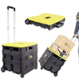 dbest products Quik Cart Two-Wheeled Collapsible Handcart with Yellow Lid Rolling Utility with seat Heavy Duty Lightweight