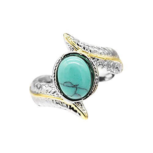zhushuGG Handmade Turquoise Ring Double Stone Blue Simulated Turquoise Open Circle Gold Plated Brass Ring Women Men's Vintage Jewelry Wedding Engagement Gift for Mom Girl