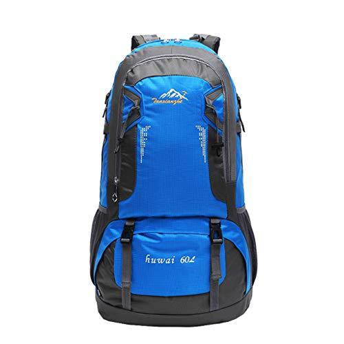 Kimruida 60L Wanderrucksack, leicht, Reise-Tagesrucksack, wasserdicht, faltbar, langlebig, Schulter-Sport, Ultraleichter Rucksack für Camping, Radfahren, blau (Blau) - Kimruida00001