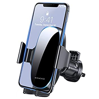 [2021 Upgraded-2nd Generation] Miracase Universal Phone Holder for Car Air Vent Car Phone Holder Mount Compatible with iPhone 12 Pro Max/11 Pro Max/SE/XR/XS/8 Plus and All Phones,Black