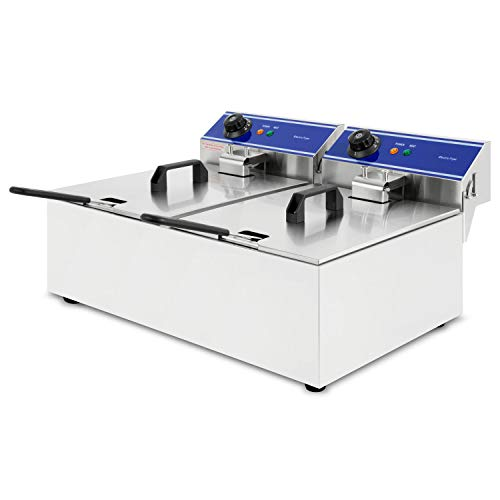 vertes Friteuse électrique 2x10L (panier de friture, 2x3000 Watt, 230V, réglable en température jusqu'à 200°C, principe des zones froides, acier inoxydable)