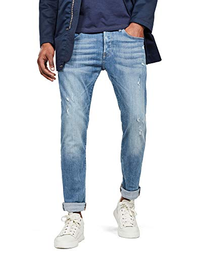G-STAR RAW Herren Jeans Hose Rovic Zip 3d Straight Tapered jeans, Lt Aged Destroy 9136-1243, 25W / 26L