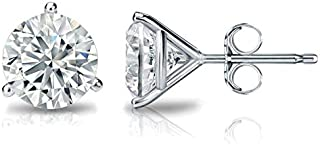 1/4-2 Carat Natural Round Brilliant Solitaire Diamond Stud Earrings for Women - 14K White or Yellow Gold 3 Prong Martini with Push Backs (G-H Color, SI2-I1 Clarity)