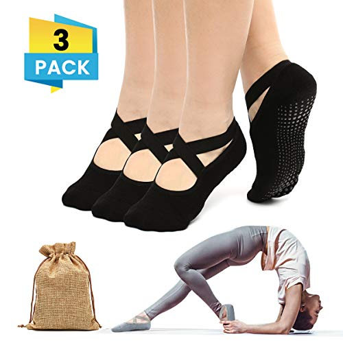 Charminer Calzino Antiscivolo Donna, Calzini Antiscivolo Yoga Pilates Danza Arti Marziali Fitness Ragazza Nero *3