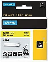 DYMO RhinoPRO Adhesive Vinyl Label Tape, 3/4-inch, 18-foot Cassette, Yellow (18433)