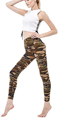 Minetom Damen Leggings Camouflage Skinnyhose mit Löchern Slim Fit Military Army Hosen Streetwear Knopf Tarnung Schlank Hose Treggings B Grün DE 34
