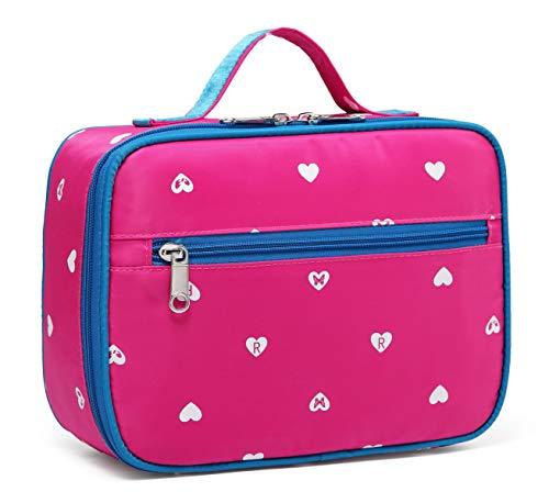 BLUEFAIRY Kids Insulated Lunch Box for Little Girls Lunchbags Lunch Bags Carrier Food Cooler Carrying Case for School Outdoor with Handle Zipper Pockets Hot Pink