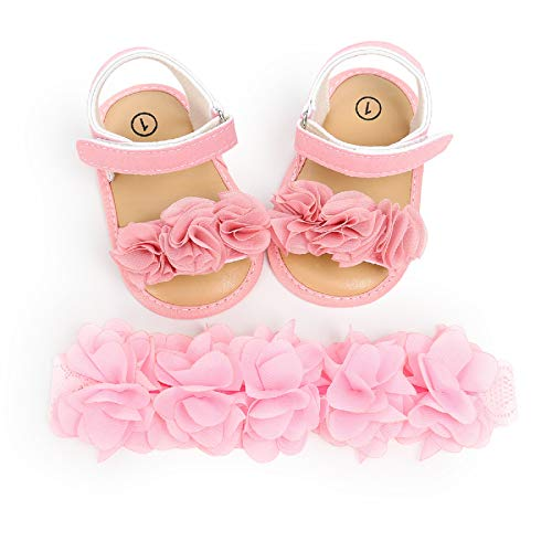 sandali 6 mesi bimba MAHUAOYIXI Completi 2 Pezzi Sandali Morbido Neonate + Fascia Fiore Scarpine Bimba Antiscivolo Elegante Scarpe Estive Prima Infanzia Comodo da 0-18 Mesi (Rosa A
