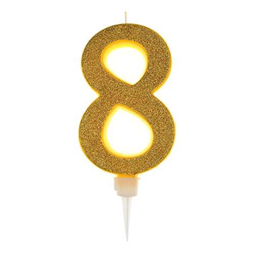 Vela De Cumpleaños 17,5cm Vela Gigante Glitter Oro, Adecuado para Fiestas De Cumpleaños, Aniversarios De Bodas, Fiestas De Jubilación, Etc. Numero 8