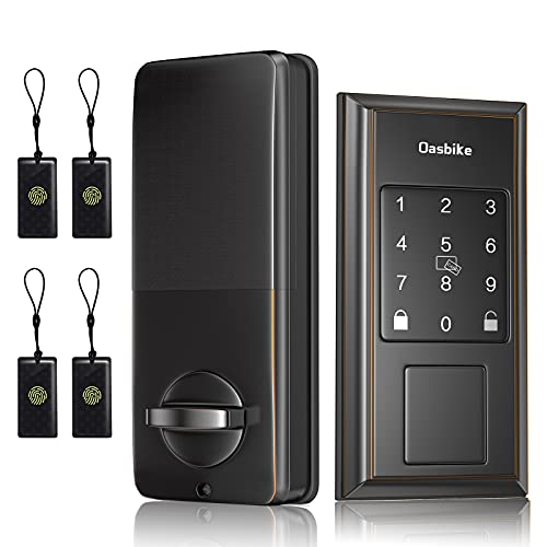 Oasbike Smart Lock, Keyless Door Locks for Homes, Touchscreen Keypad, Keyless Entry Door Lock Featuring Auto-Locking Suitable for Alexa & Google Assistant, Aged Bronze