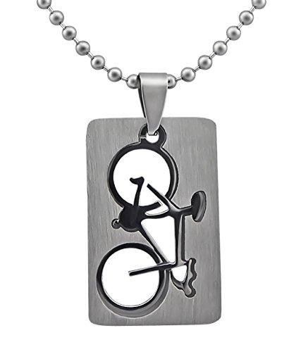 Hanessa Schmuck Edelstahl Herren-/ Damen Halskette Fahrrad Renn-Rad Sport Triathlon Geschenk für Mann oder Frau/Freund oder Freundin