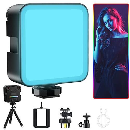 Jomst LED Videoleuchte RGB, Kamera Licht RGB mit 2500mAh Akku, 360 Farben VerfüGbar, Dimmbare 2500K-9000K, Klein Tragbar Mini Videoleuchte für DSLR Camcorder Smartphone