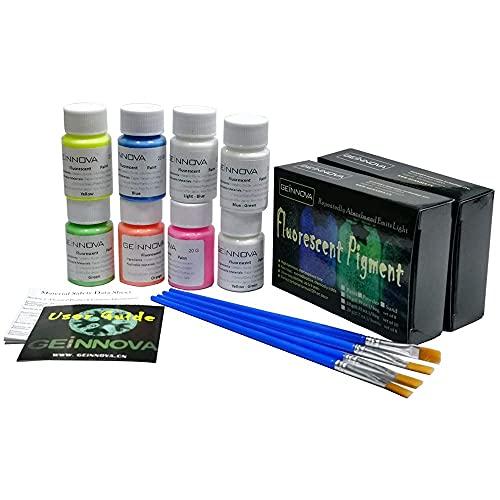 Fluorescente Pintura Brilla en la oscuridad pigmentos para fiestas/pared/piel/cristal Decor Set de 8Luminoso pintura Graffiti pigmento geinnova