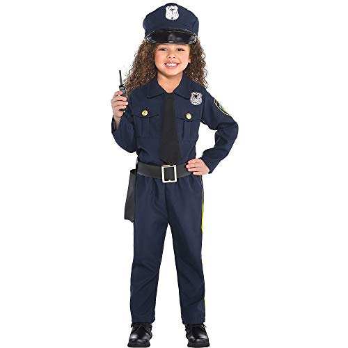 Amscan 848444 Girls Classic Police Officer Costume - Small (4-6),Navy Blue
