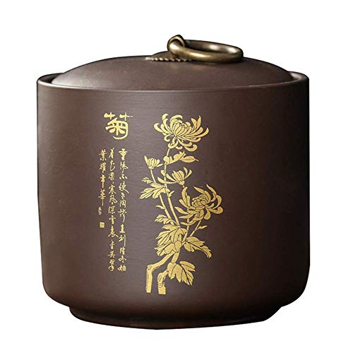 1 caja de almacenamiento de té tradicional de cerámica para té y té de arcilla morada.