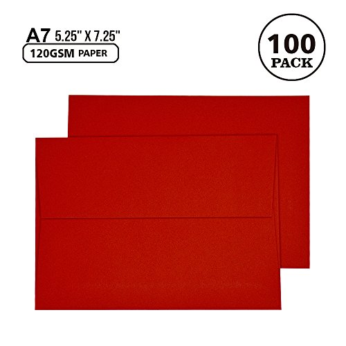 A7 Red Invitation 5x7 Envelopes - Self Seal, Square Flap,Perfect for 5x7 Cards, Weddings, Birthday, Invitations, Graduation, Baby Shower, 5.25 x 7.25 Inches, 100 Pack, (Red)