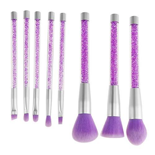 LURROSE 8pcs Pinceau de Maquillage Paillettes Cristal Transparent pinceaux cosmétiques avec poignée en Strass pour Dames Femmes (Violet)