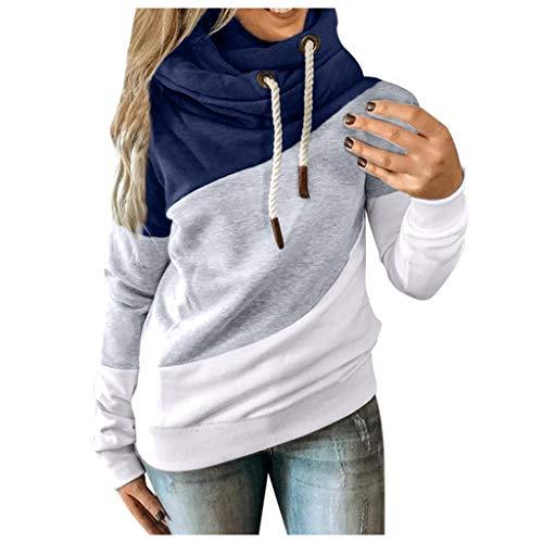 MINYING - Sudadera con capucha para mujer, talla grande, manga larga, otoo e invierno, informal, clida, de algodn con contraste slido, para mujer 09- Blue L