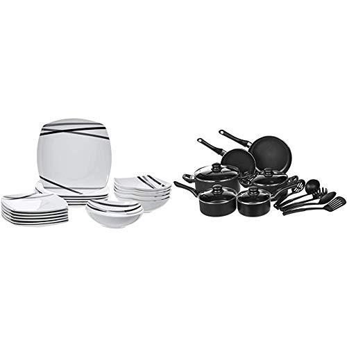 AmazonBasics - Servizio di piatti per 6 persone, 18 pezzi, Raggi moderni &Batteria da cucina, 15 pezzi con rivestimento antiaderente