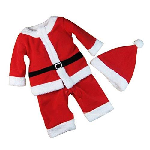 BESTOYARD Conjunto de Disfraz Papa Noel para Bebe Niño Niña Gorro de Navidad Ropa Pantalones con Cinturón tamaño 80 cm (Rojo)