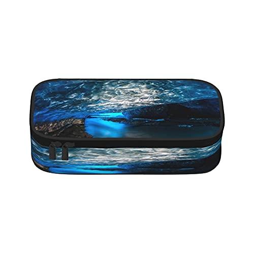 Estuche de lápices de cristal azul con forma de cueva de hielo de gran capacidad, bolsa de almacenamiento para rotuladores, bolsa de papelería simple