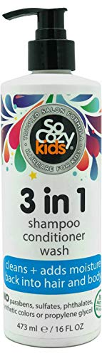 SoCozy 3in1 Shampoo + Conditioner + Body Wash For Kids Hair Cleans and Adds Moisture Back, Kiwi, 16 Fl Oz