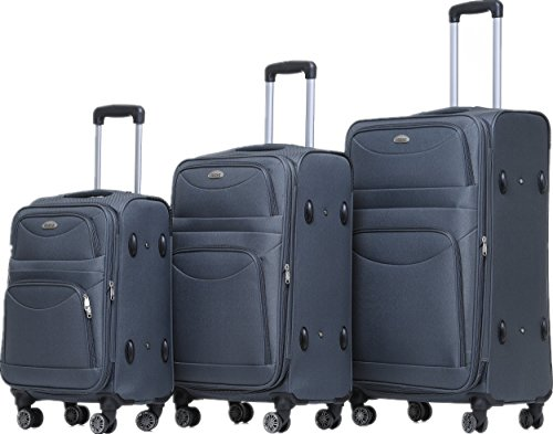 BEIBYE 8009 TSA Schloß Stoff Trolley Reisekoffer Koffer Kofferset Gepäckset (Grau, Set)