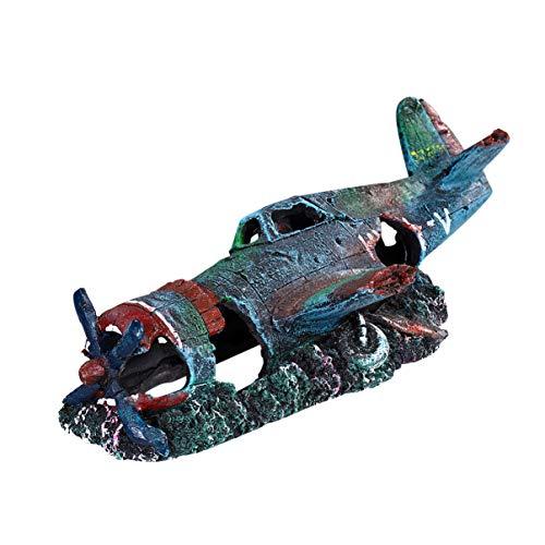 Balacoo Avión de Resina Avión Hundido Estrellado - Pequeño Avión Accesorios Decorativos para Pecera Decoraciones de Acuario para Pecera (Tamaño S)