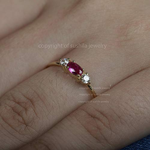 Ruby Baguette with Diamonds Ring Handmade Fine Jewelry For Christmas Gift Women Jewelry 14k Yellow Gold Ruby Engagement Ring