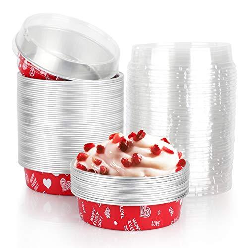 Mini Tart Pans, Beasea 4 Inch 50 Pack Disposable Pie Tins with Lids, Red Aluminum Pie Pan Cartoon Tin Tart Pans Round Oven Baking Mini Cake Pan for Pie Tart Quiche
