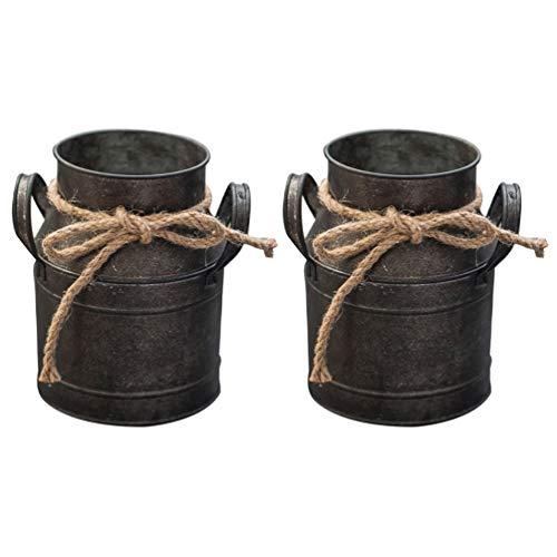 DOITOOL 2 cubos de metal para flores galvanizados, de hierro de arpillera, maceta de jardín, contenedor de bonsái, para decoración de escritorio del hogar, oficina