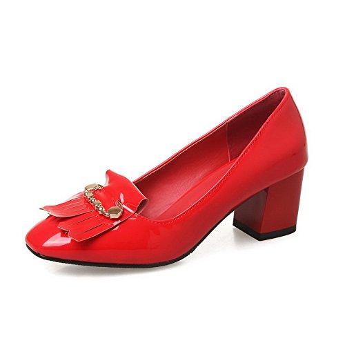 CosyFever Zapatos de Tacón Chunky Bajo conPuntera Cuadrada Ponerse Volado DC49 para Mujeres Rojo - 35.5 EU
