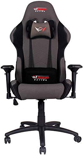 GT OMEGA PRO Stoff Gaming Stuhl mit Lendenwirbelstütze - atmungsaktiv & Ergonomischer Bürostuhl mit 4D verstellbare Armlehne & Liegesessel - Esport Sitz für Gaming Experience - Grau Weiter Schwarz