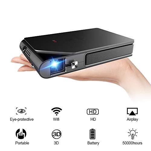Mini proyector de Bolsillo Soporte 3D 1080P Pequeño proyector HD inalámbrico inalámbrico DLP WiFi con batería incorporada HDMI USB Audio para Cine en casa Juegos de Viaje al Aire Libre PPT