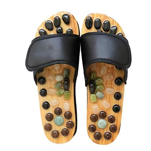 WXDP Pantuflas Calientes,Zapatillas Zapatillas de Masaje para Mujeres y Hombres, masajeador de pies, Zapatillas de Masaje de acupresión con Piedra de Jade, Sandalias de reflexología para Ducha in