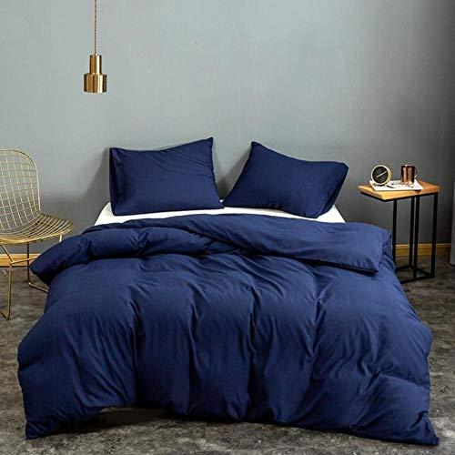Juego de funda de edredón para cama individual, tamaño Queen, color blanco liso teñido