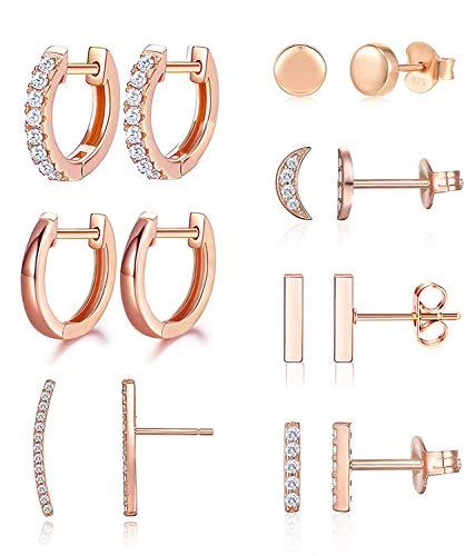 Earrings for Women Hoop Huggie Girls Ear Piercing Minimalist Cuff Mini Bar Dainty Stud (14Pcs Set)(Rose Gold)