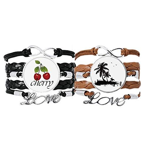 Pulsera de piel con diseño de árbol de coco, correa de mano y cuerda de piel con diseño de árbol de coco, juego doble
