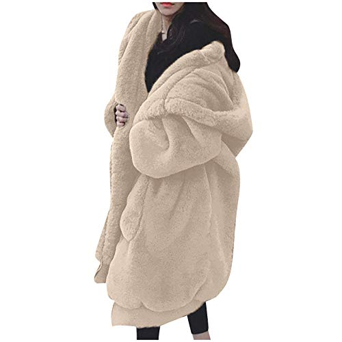 DEATU Jackets for Women Fashion Casual Winter Plus Size Hoodie Coats Plush Jacket Long Sleeve Zipper Pocket Warm Coat (A01#Beige,4X-Large)