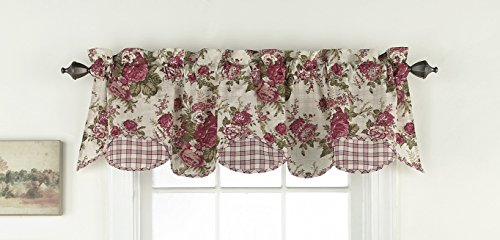 """WAVERLY Valances for Windows - Norfolk 60"""" x 16"""" Short Curtain Valance Small Window Curtains Bathroom, Living Room and Kitchens, Tea Stain"""