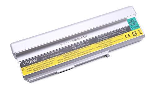 vhbw Batterie LI-ION 6600mAh 10.8V Argent Compatible pour Lenovo remplace 40Y8315, 40Y8322, ASM 42T5213, ASM 92P1185, FRU 42T4514, FRU 42T4516