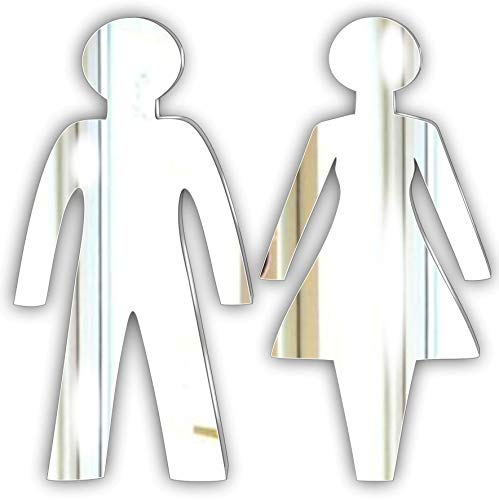 Toilet Decorative Plaque/Sign Glass Effect Acrylic Mirror Plaque- Male and Female Toilet Signage * Black Friday Sale *