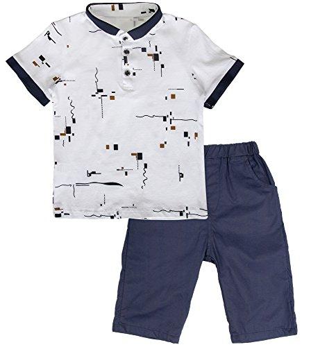 POBIDOBY Big Boy's 2 Pcs Summer Clothes Set T Shirt & Short Sets Wave Point 8T
