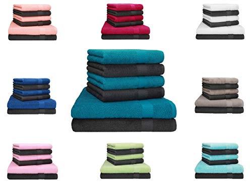 Betz Juego de 6 toallas PALERMO 100% algodón Color antracita - verde
