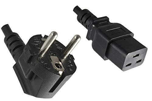 DINIC Netzkabel Stromkabel CEE 7/7 Schutzkontaktstecker auf C19 für 16A 5,00m, schwarz