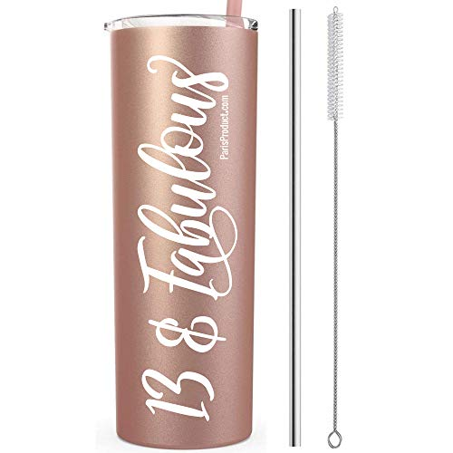 13 & Fabulous 20 Oz Stainless Steel Rose Gold Tumbler | Gifts For 13 Year Old Girl | 13th Birthday Party Supplies For Girls | 13th Birthday Gifts For Girls | 13th Birthday Decorations | Birthday Gifts