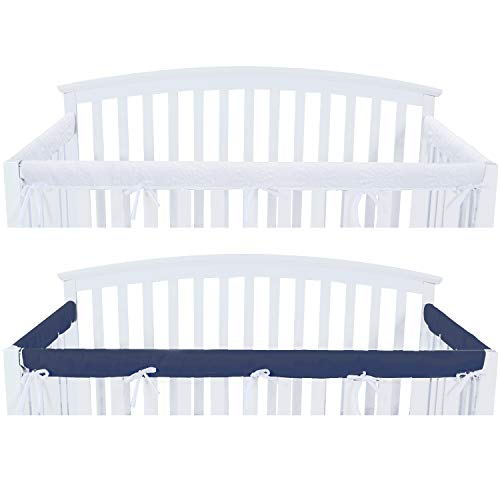 3 - Piece Crib Rail Cover Protector Safe Teething Guard Wrap for Standard Crib Rails, Fit Side and Front Rails, Navy/White, Reversible, Safe and Secure Crib Rail Cover.