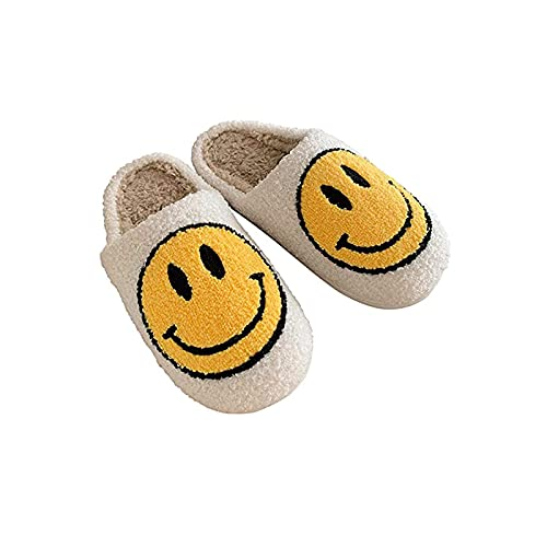 Smiley Face Cozy Plush Comfy Warm Slide,Retro Smiley Face Soft Plush Comfy Warm Slip-On Slippers Cute Smiley Face Slippers (39 40,White)