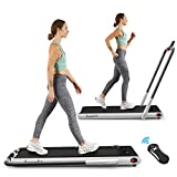 Goplus 2 in 1 Folding Treadmill, 2.25HP Under Desk Electric Treadmill, Installation-Free, with Remote Control, Bluetooth Speaker and LED Display, Walking Jogging Machine for Home/Office Use (Silver)