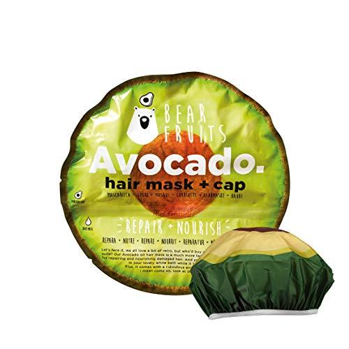 Bear Fruits, Aguacate, Repara & Nutre, Mascarilla Capilar + Gorro De Ducha, 20 ml